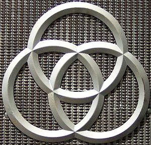 Krupp - The three rings were the symbol for Krupp, based on the Radreifen – the seamless railway wheels patented by Alfred Krupp. The rings are currently part of the ThyssenKrupp logotype.