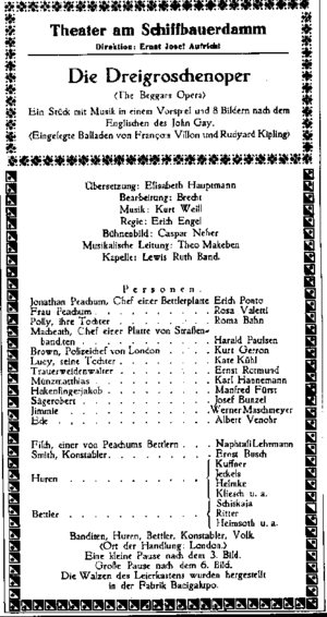 The Threepenny Opera - Playbill of the premiere performance at Theater am Schiffbauerdamm Berlin, 31 August 1928. The name of Lotte Lenya, who played Jenny, was omitted by mistake.