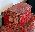 Dressing box, England, 1690-1710, oak, iron, wool velvet, with carpet, Turkey, 1690-1700, wool, cotton - Concord Museum - Concord, MA - DSC05687.JPG