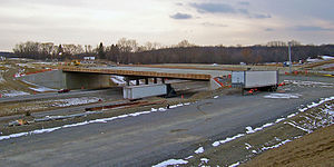 New York State Route 747 - New overpass under construction at I-84 in February 2007