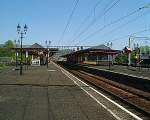 Dumbarton Central railway station - View of Dumbarton Central station, looking east