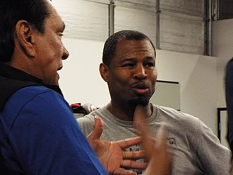 Roberto Durán - Durán training Shane Mosley for his fight against David Avanesyan, 2016