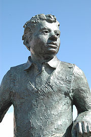 Statue of Dylan Thomas in Swansea's Maritime Quarter, unveiled by Lady Mary Wilson