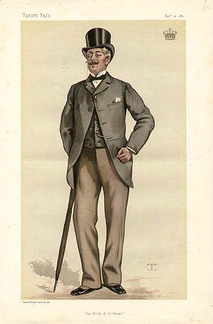 """Robert St Clair-Erskine, 4th Earl of Rosslyn - """"The Kirk of Scotland"""". The Earl of Rosslyn as caricatured by Théobald Chartran in Vanity Fair, November 1881."""