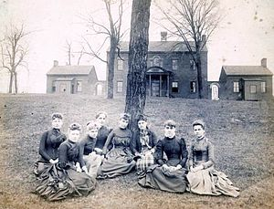 East Tennessee Female Institute - East Tennessee Female Institute in the 1880s; Lizzie Crozier French, head of the school, is on the far left