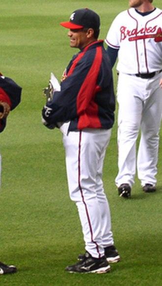 Eddie Pérez (baseball) - Perez, as bullpen coach for the Braves in 2007