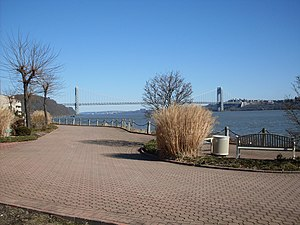 Edgewater, New Jersey - The River Walk in north Edgewater with a view of the Hudson River and George Washington Bridge in the background