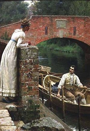 Messum's - The Fond Farewell by Edmund Blair Leighton (1852–1922), exhibited at Messum's