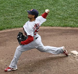 Eduardo Sánchez pitching in 2011 at Miller Par...