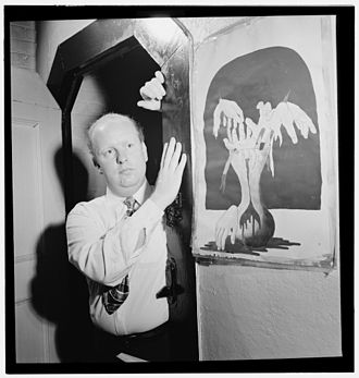 Edwin Finckel - Edwin A. Finckel at his home with his painting