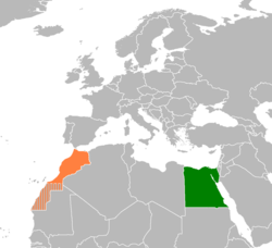 Map indicating locations of Egypt and Morocco