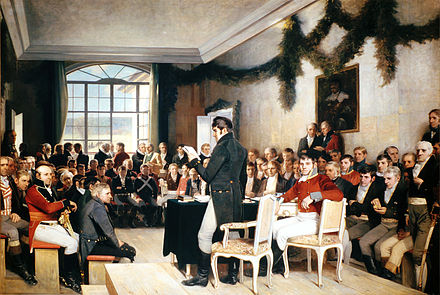 The 1814 constitutional assembly, painted by Oscar Wergeland. Eidsvoll riksraad 1814.jpeg