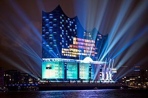 Elbphilharmonie - The building illuminated for its opening on 11 January 2017