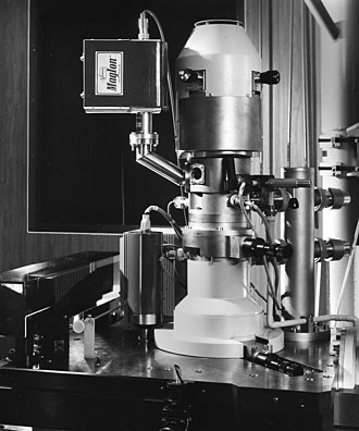 "Superlens - The ""Electrocomposeur"" was an electron-beam lithography machine (electron microscope) designed for mask writing. It was developed in the early 1970s and deployed in the mid 1970s"