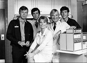 Robert Fuller (actor) - Cast of  TV's Emergency! (1973), L-R: Kevin Tighe, Robert Fuller, Julie London, Bobby Troup and Randolph Mantooth
