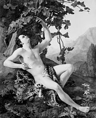 A young faun picking grapes