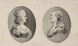 Engraved portraits of Marie Antoinette and Louis XIV