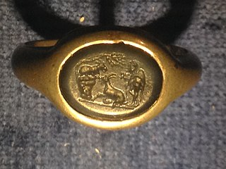 Silver ring with blue intaglio of a pastoral scene of a goat-herd with two goats