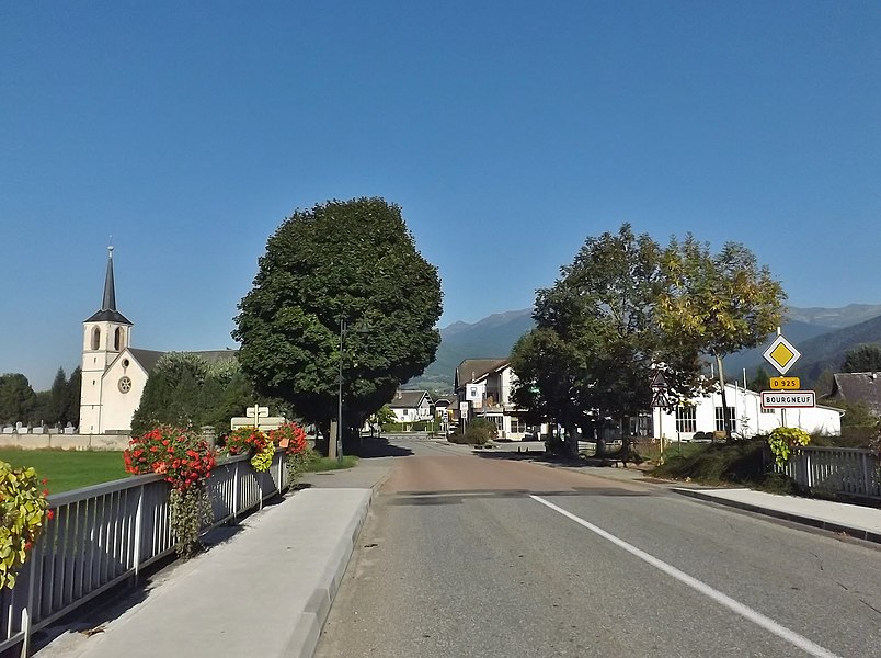 Entrance into the French commune and village of Bourgneuf, in Savoie.