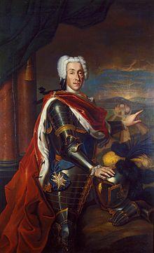 Herzog Ernst August I. von Sachsen-Weimar; 1729 wurde er vom römisch-deutschen Kaiser zum Feldmarschall-Leutnant der Kaiserlichen Armee ernannt, 1732 schließlich zum General der kaiserlichen Kavallerie. (Quelle: Wikimedia)
