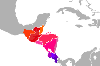 Linguistic variations of classic Central American Spanish. Espanol centroamericano.png