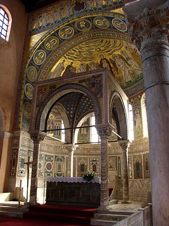 Ciborium (architecture) - The Euphrasian Basilica, Istria, now in Croatia. Columns 6th century and canopy 1277.