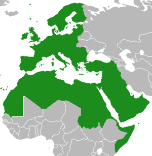 "Eurabia - ""Eurabia"" map of combined European Union current and prospective members, Switzerland and Norway (Schengen members); with Arab League member and observer states."