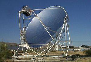 Stirling engine - Point focus parabolic mirror with Stirling engine at its centre and its solar tracker at Plataforma Solar de Almería (PSA) in Spain