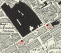 Euston Underground station building location on 1895 OS Map.png