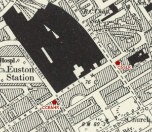 Euston tube station - Image: Euston Underground station building location on 1895 OS Map