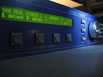 Effects unit - Of all of the formats, rackmount effects from the 2010s typically have the most advanced alphanumeric text display capacities. The Eventide HE3000 Ultra-Harmonizer pictured here displays the entire name of an effect or setting, which helps users to find their preferred settings and effects.