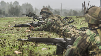 ffd5fe2e Portuguese infantry during NATO maneuvers in the Santa Margarida Military  Camp.