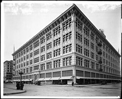 Exterior view of The Hamburger's Store building (later became the May Company) on the corner of Eighth Street and Broadway, Los Angeles, ca.1912
