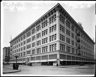 May Company Building (Broadway, Los Angeles) - Exterior view of The Hamburger's Store building (later became the May Company) on the corner of Eighth Street and Broadway, Los Angeles, ca.1912