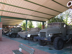People's Armed Forces of Liberation of Angola - Line up of decommissioned FAPLA combat vehicles in the South African National Museum of Military History: Ural-4320, PT-76, and T-34-85 tank.
