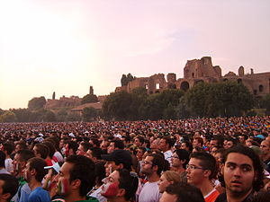 A lot of people gathered in Circus Maximus, Ro...