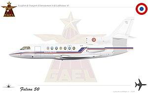 Escadron de transport, d'entrainement et de calibration - Image: Falcon 50etec
