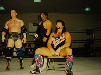 Marty Jannetty - Jannetty (seated) with Tommy Cairo and Falcon Coperis in Ultimate Championship Wrestling in 1997