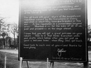 Harry Crerar - A farewell sign posted on behalf of Gen. H.D.G. Crerar to troops of the First Canadian Army departing the Netherlands in 1945.