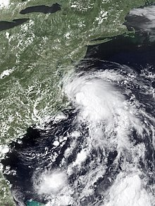 An image of Tropical Storm Fay shortly after being named off the coast of Virginia and North Carolina.