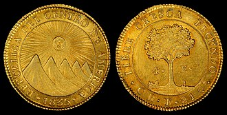 Federal Republic of Central America, 4 Escudos (1835). Struck in the San Jose, Costa Rica mint (697 were minted) Federal Republic of Central America 1835 4 Real.jpg