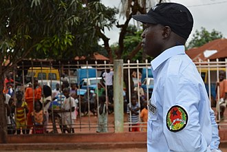 Guinea-Bissau - Public Order Police officer during a parade in Guinea-Bissau