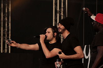 Orelsan - Orelsan with Gringe and Ablaye at the Festival des Vieilles Charrues in 2014