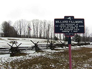 Millard Fillmore - Historical marker at the site of Fillmore's birth