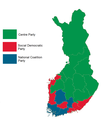 Finnish parliamentary election results by province, 2007.png