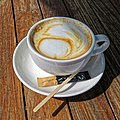 Flat white coffee Highgate Cricket Club, Crouch End, London.jpg