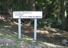 Sign indicating the site of the destroyed village