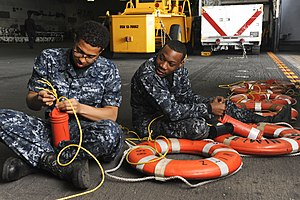 Personal flotation device - Attaching distress marker lights to flotation devices used in the event of a man overboard