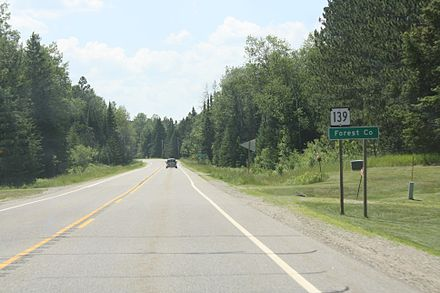 Forest County sign on WIS 139