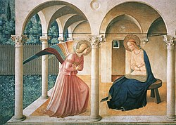 An angel announces the birth of Jesus to Mary. Fra Angelico, early 15th century